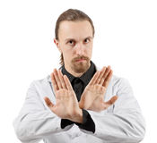Medico che fa il segno di proibizione Fotografia Stock Libera da Diritti