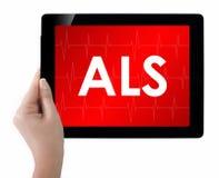 Medico che mostra compressa con il testo di ALS Fotografia Stock