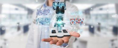 Medico che per mezzo del microscopio moderno con il renderin digitale di analisi 3D Immagine Stock Libera da Diritti