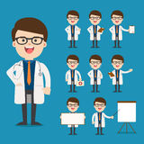 Medico che presenta in varia azione Immagini Stock