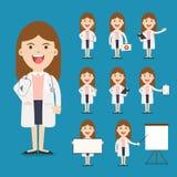 Medico che presenta in varia azione Progettazione di carattere Immagine Stock Libera da Diritti