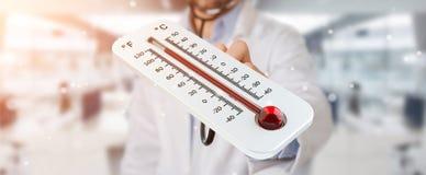 Medico che tiene la rappresentazione rovente del termometro digitale 3D Immagini Stock