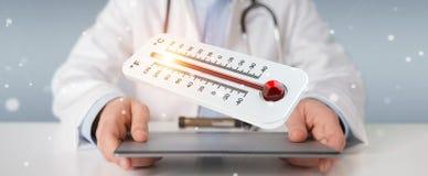 Medico che tiene la rappresentazione rovente del termometro digitale 3D Fotografie Stock Libere da Diritti