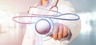 Medico che tiene un 3d che rende stetoscopio medico Fotografia Stock Libera da Diritti