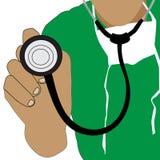 Medico che tiene un'icona dello stetoscopio immagini stock libere da diritti