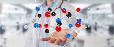 Medico che usando la rappresentazione digitale dell'interfaccia 3D della molecola Fotografia Stock Libera da Diritti