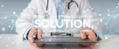 Medico che usando la rappresentazione digitale moderna dell'interfaccia 3D della soluzione Immagini Stock Libere da Diritti