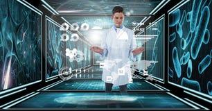 Medico che utilizza interfaccia nel corridoio 3D Fotografie Stock