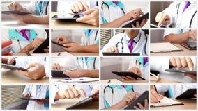 Medico che utilizza la compressa digitale dello schermo attivabile al tatto all'ospedale nel suo gabinetto stock footage