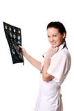 Medico con i raggi X del cervello Fotografia Stock