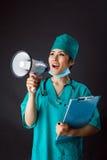 Medico con il megafono Fotografie Stock