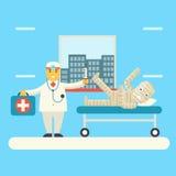 Medico con l'icona paziente bendata dei caratteri Immagine Stock