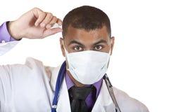 Medico con l'iniezione di influenza dei maiali Fotografia Stock