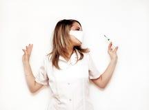Medico con la siringa Fotografia Stock