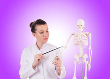 Medico con lo scheletro contro la pendenza Fotografie Stock
