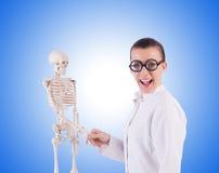 Medico con lo scheletro sul bianco Fotografie Stock