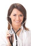 Medico con lo stetoscopio, isolato Fotografie Stock