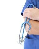 Medico con lo stetoscopio. Isolato. fotografie stock