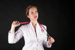 Medico con un phonendoscope Fotografia Stock
