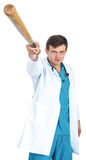 Medico con un pipistrello Fotografia Stock