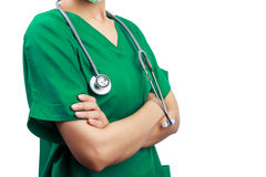 Medico con uno stetoscopio Immagine Stock