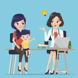 Medico consiglia la mamma descrive il sintomo della malattia illustrazione vettoriale