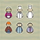Medico, cuoco unico, cameriera di bar, responsabile, consulente, costruzione poca illustrazione divertente Immagini Stock