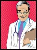 Medico d'annata del libro di Art Style Comic di schiocco Fotografia Stock