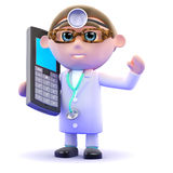 medico 3d chiacchiera su un telefono cellulare Immagini Stock Libere da Diritti