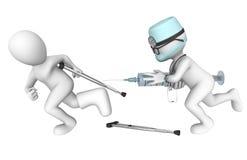 medico 3D e paziente Grande orrore della siringa Fotografia Stock