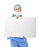 Medico del bambino con il documento di nota in bianco vuoto Immagini Stock
