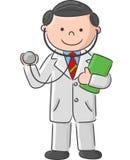 Medico del fumetto che tiene segno e stetoscopio in bianco Immagini Stock