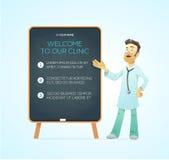 Medico del ritratto sul bordo di pubblicità Fotografia Stock