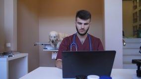 Medico del veterinario che per mezzo del computer portatile per prescrivere farmaco stock footage