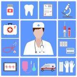 Medico dell'illustrazione con le icone mediche piane per web design Fotografia Stock