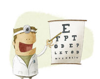 Medico dell'oculista che pinting su un grafico di prova di vista Fotografia Stock Libera da Diritti