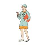 Medico della donna in abito e cappuccio medici con uno stetoscopio e una cartella in sue mani Un lavoratore nel campo di medicina Fotografia Stock