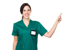 Medico della donna con il punto del dito su Fotografie Stock