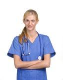 Medico della donna con le braccia attraversate Fotografia Stock