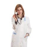 Medico della donna con lo stetoscopio isolato Fotografia Stock
