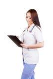 Medico della giovane donna Isolato Priorità bassa bianca Fotografie Stock Libere da Diritti