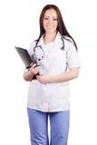 Medico della giovane donna Isolato Priorità bassa bianca Immagine Stock Libera da Diritti