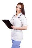 Medico della giovane donna Isolato Priorità bassa bianca Fotografia Stock