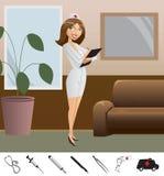 Medico della ragazza ed icone mediche Immagine Stock
