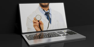 medico della rappresentazione 3d su uno schermo del ` s del computer portatile Fotografia Stock Libera da Diritti