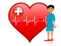 Medico della signora vicino a cuore Fotografia Stock
