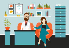 Medico dello psichiatra che ascolta il paziente femminile con tristezza e la depressione illustrazione di stock