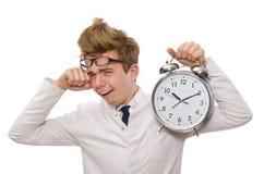 Medico divertente con la sveglia Fotografia Stock