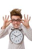 Medico divertente con la sveglia isolata sul Fotografia Stock