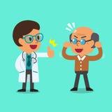 Medico e uomo anziano del fumetto Immagini Stock